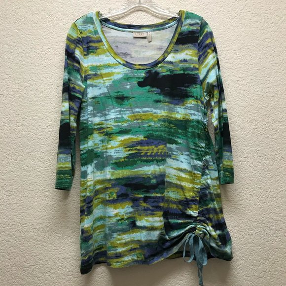 LOGO Green Multicolor Ruched Tunic Top